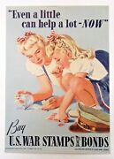 Orig. 1942 Wwii Even A Little Can Help A Lot Now Home Front War Stamps Poster