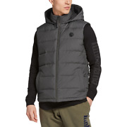 Nwt Menand039s Hooded Heavy Warm Grey Duck Down Fill Vest A1mlz Size S M L