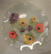 Vintage Collector Glass Plate Hand-painted Multi-colored Flowers Gold Edge