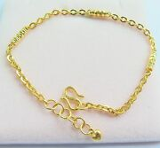 Authentic 24k Yellow Gold Bracelet 3mm Tube With Cable Link Bracelet 19cm
