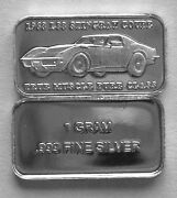 100 1 Gram .999 Pure Silver 1968 L88 Stingray And039true Muscle Pure Classand039 2b