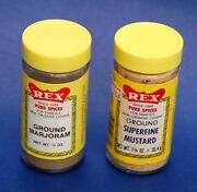 Two Vintage Rex Spice Bottles Pure Spices For New Orleans Cuisine Since 1888