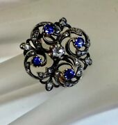 Antique Victorian Diamond Sapphire Floral Design Cocktail Ring Solid 14k/silver