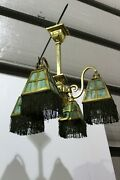 Antique Mission Great 4 Arms Brass Chandelier Slag Glass Shade With Fringe