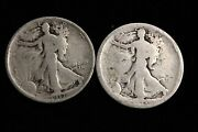 1-1917-p And 1-1918-s Walking Liberty Silver Half Dollar Coins, Each .36169 Silver