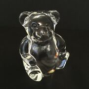Steuben Glass Works Crystal Teddy Bear Figurine Paperweight Hand Cooler - Signed
