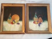 Pair Of Wine Fruit Still Life Tablescape Oil Paintings Mid Century Unsigned Orig