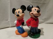 Vintage Mickey Mouse--a Pair Of 1970and039s-rubber--plastic Banks