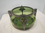 Antique Arts And Crafts Green Glass Bowl With Pewter Frame In T.m.o. Liberty And Co