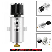 Polished Aluminum 10an Oil Catch Can Reservoir Tank W/ Breather Filter Baffled