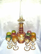 Antique Or Vintage Bohemian Moser 10 Crystal Goblets And Large Decanter Rare