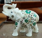 7 Trunk Up Marble Standing Elephant Statue Malachite Inlay Gift Decor E1103
