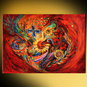 The Red On Red Contemporary Judaica Art Print By Elena Kotliarker