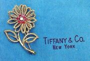 18k Yellow Gold Ruby And Diamond Daisy Flower Vintage And Co. Brooch
