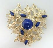 14k Yellow Gold Large Free Form Blue Lapsis Brooch Pin 2.2x2 Inch 26.5g D8160