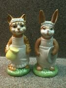 Duncan Royale Fine Porcelain Cat Kitty Bunny Rabbit Catering Figurine Figurines