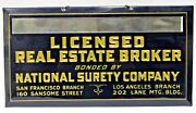 1920and039s Licensed Real Estate Broker National Surety California Crystoglas Sign +