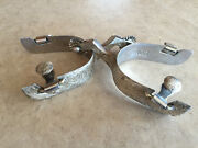 Vogt Rare Vintage Spurs Hand Engraved Sterling Overlay Early 1960and039s Collectible
