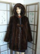 Reburbished New Brown Mink Jacket Coat With Hood Women Woman Size All