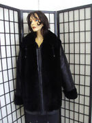 Brand New Black Sheared Beaver Fur And Leather Jacket Coat Women Woman