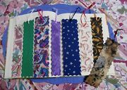 Bookmarks Fabric Or Cloth Bookmark, Ribbon, Lot Of 8 Handmade Variety Pack
