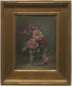Frederick James Boston 1855 -1932 Flowers 1928. Oil On Canvas Laid On Board