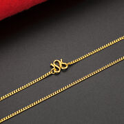 Hot Sale Pure 24k Yellow Gold Perfect Curb Chain Womanand039s Lucky Necklace / 17.3l