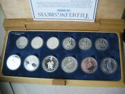 Norway 1994 Winter Olympics 50,100 Kroner 12 Silver Proof Coins Set, Wooden Box