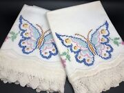 Vintage Pair Of Butterfly Cross-stitch Pillowcases W/ Crochet Lace Trim Rf884