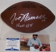 Joe Namath Signed Ny Jets Official Nfl Duke Dark Leather Football F1250 Bas Itp