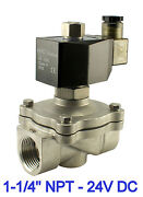 Normally Open Stainless Electric Water Solenoid Valve 1.25 Inch 24v Dc Viton
