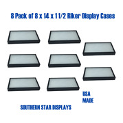 8 Pack Of 8 X 14 X 1 1/2 Riker Display Case Box Collectibles Arrowheads Jewelry