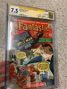 Signed By Stan Lee Cgc Ss Fantastic Four 22 2nd Mole Man 1st Invisible Shield