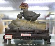 8 Chinese Shoushan Stone Agalmatolite Carving Duck Mother Son Animal Sculpture