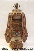 13tibet Buddhism Temple Crystal Silver 24k Gold Turquoise Coral Gem Lucky Vase