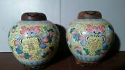 Pair Of 2 Large Antique Ginger Jar Handmade With Wood Lid And Base 8x10