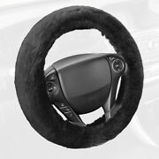 Black Plush Faux Wool Non-slip Steering Wheel Cover Protection For Car Truck Suv