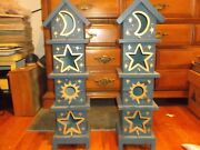 Vintage Crafts 2 Painted Wood Bird Houses/1980s/night Sky Theme-with Cut-outs
