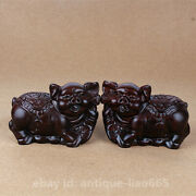 4.7 Fine Chinese Ebony Wood Carved Zodiac Animal Lucky Pig Wealth Statue Pair 福