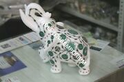 10 Marble Trunk Up Standing Elephant Statue Malachite Inlay Home Decor H5719a
