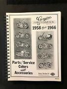 Genuine Harley-davidson 1958 Thru 1966 Parts/service Colors And Accessories