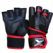 Weight Lifting Fitness Leather Gym Gloves Gel Padded Cowhide Long Strap Red G6r