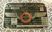New Cmc Continental Motors Aircraft Engine Stainless Data Plate O-300-d