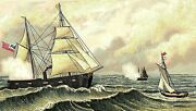 Lot Of 5 Victorian Trade Cards Ships Boats Naval Sails Flag Seas Nice P145