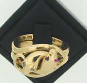 Art Deco 18ct Yellow Gold Snake Ring Ruby And Diamond Eyes Size Q Made 1924