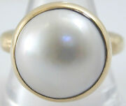 Pearl Mabe Large 9ct Gold And Pearl Statement Ring Size Q 1/2 London 2012 Roman