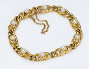 French Antique 18k Yellow Gold Natural Pearl Bracelet