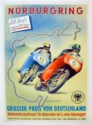 Grand Prix Germany 1958 Motorcycle Original Large Poster And Linen Mounted
