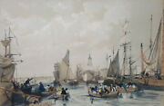James Duffield Harding Jd The Port Of London Hand Coloured Lithograph 1834