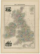 Antique Map Of England, Wales, Scotland And Ireland By Migeon 1880